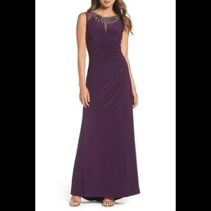 Vince Camuto Embellished Gown in plum NWOT